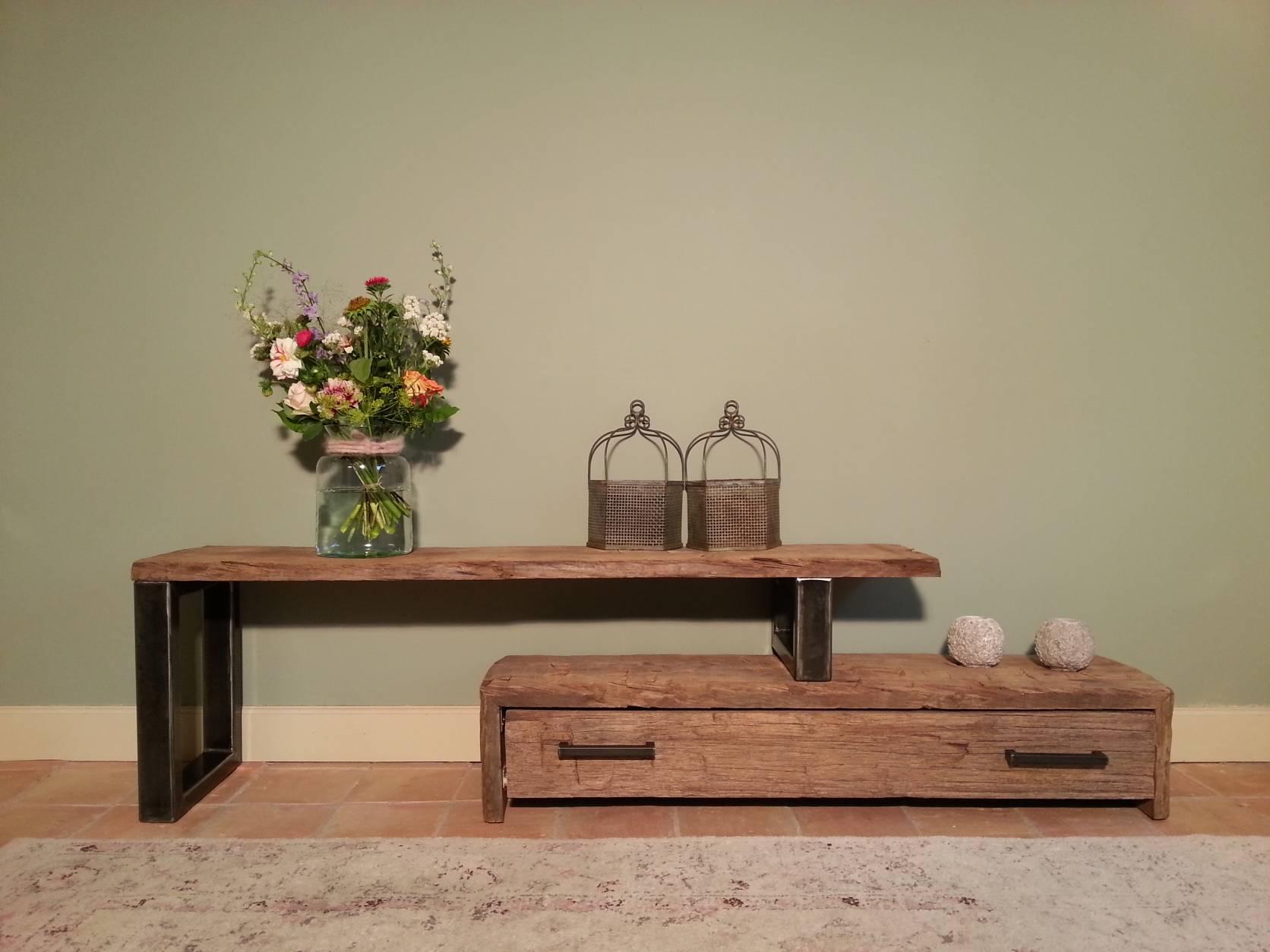 Kast Hout Staal : Kast hout staal tv meubel vintage metaal breed with kast hout